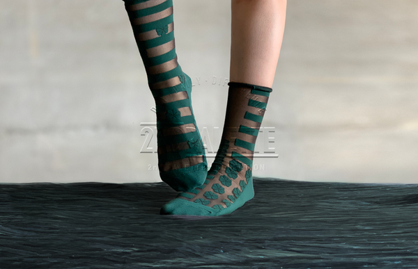 Midcalf Tulle Socks Posh Green - whoami