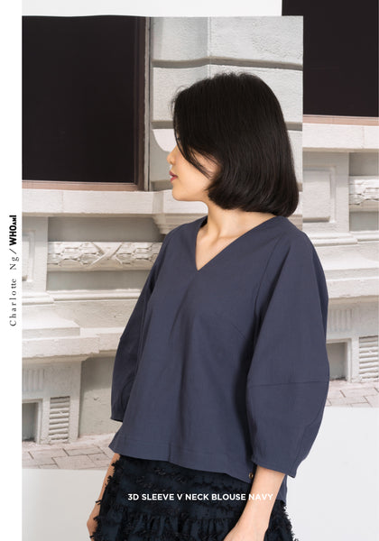 3D Sleeve V Neck Blouse Navy