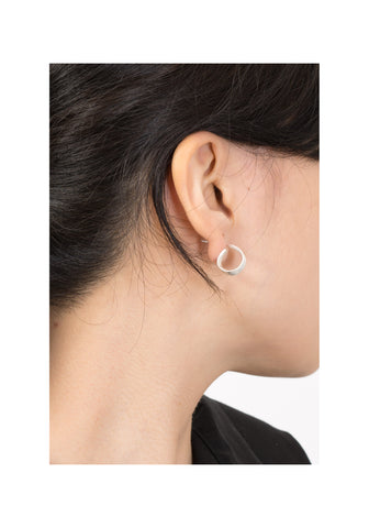 Standing Loop Earrings Matt Silver