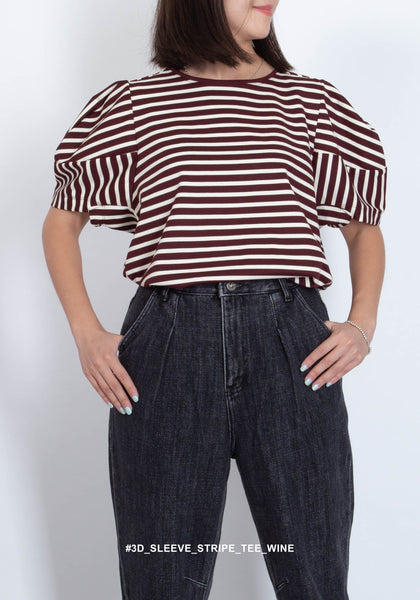 3D Sleeve Stripe Tee Wine - whoami