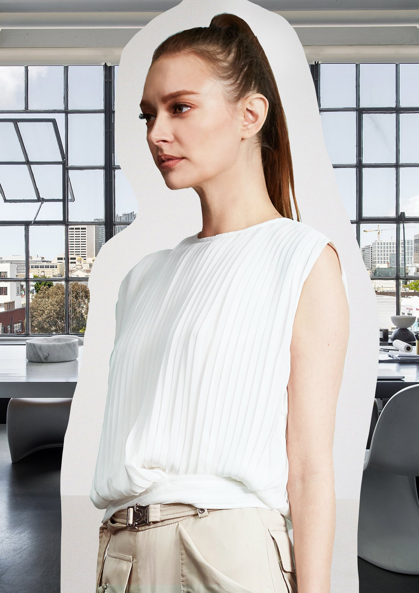 Pleating Blouse With Silver Rings White