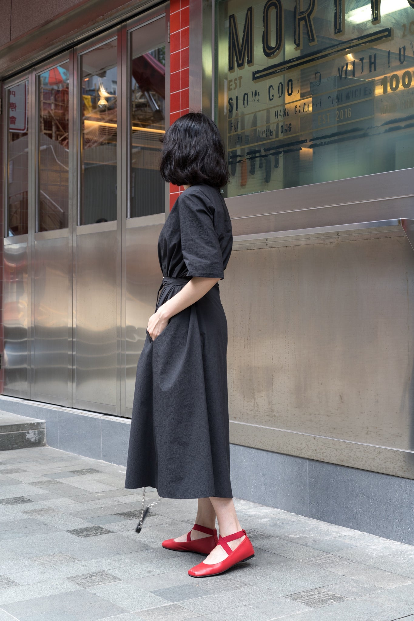 Short Sleeve Belt Tie Dress Black