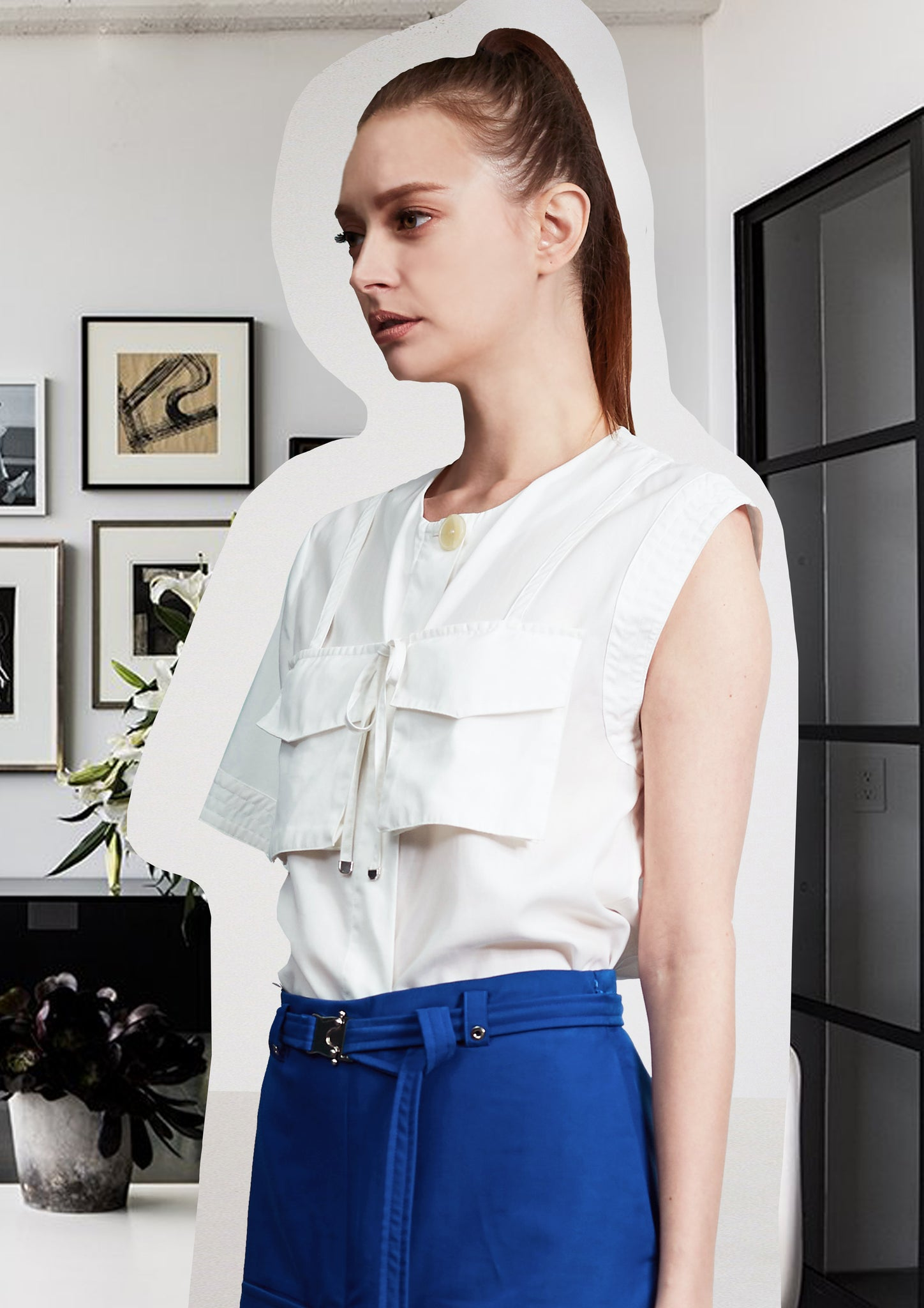 Asymmetric Pockets Shirt White - whoami