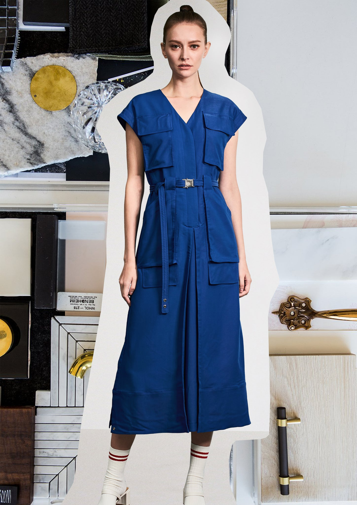 Pockets Pant-Like Dress Blue - whoami