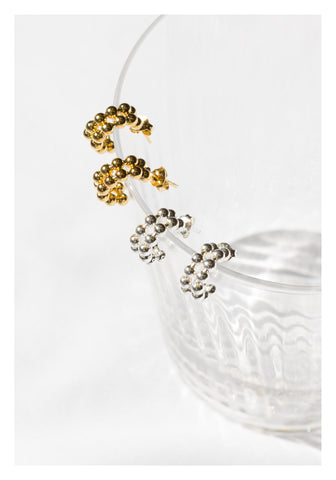 925 Silver Golden Double Beads Hoop Earrings - whoami