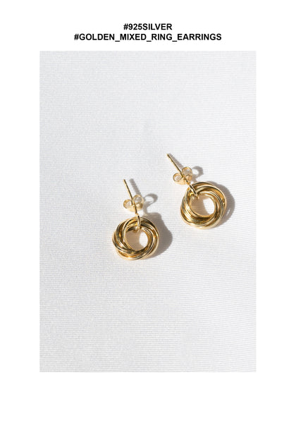 925 Silver Golden Mixed Ring Earrings - whoami