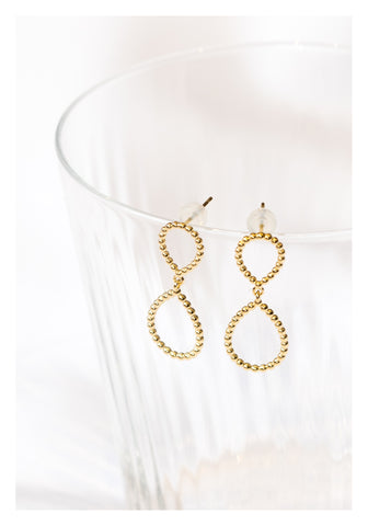 925 Silver Golden Organic Infinity Earrings - whoami
