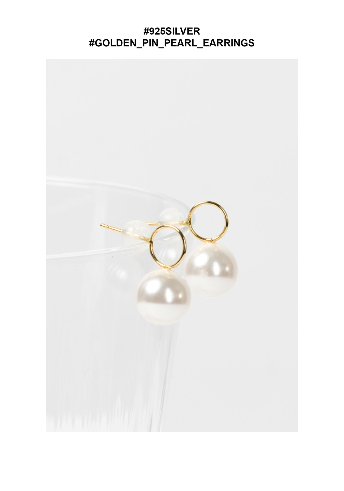 925 Silver Golden Pin Pearl Earrings