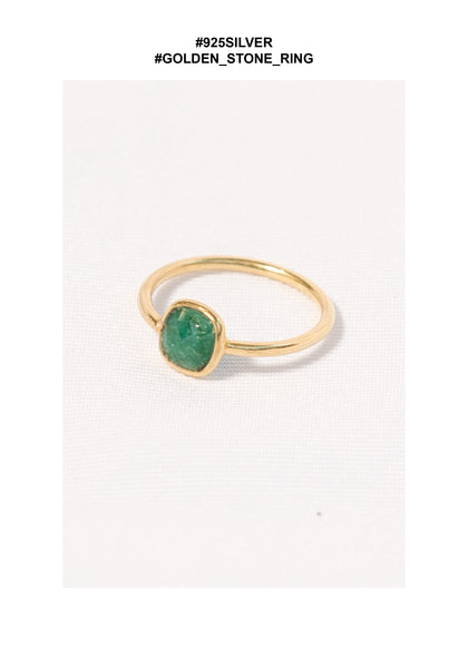 925 Silver Golden Green Stone Ring - whoami