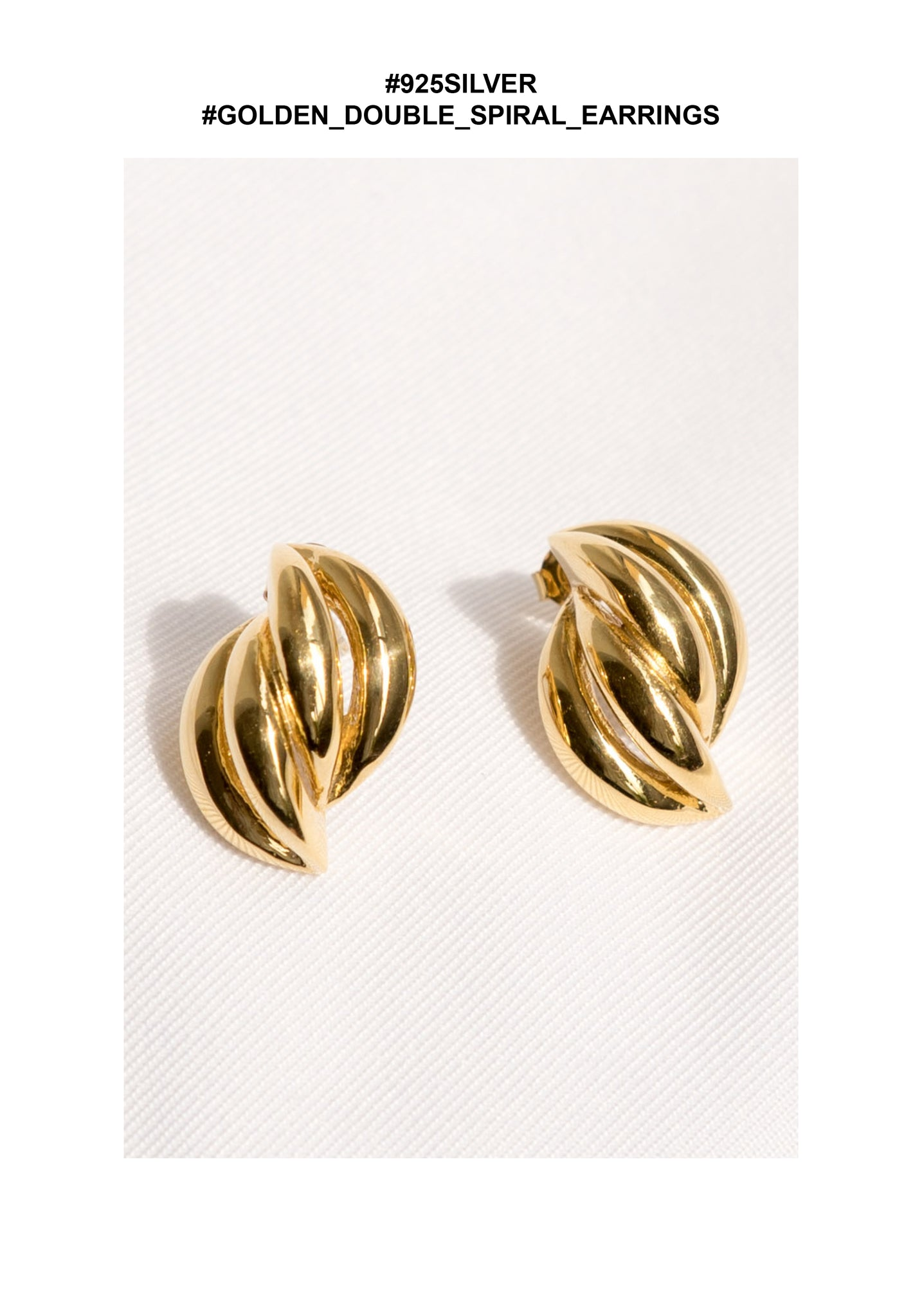 925 Silver Golden Double Spiral Earrings - whoami