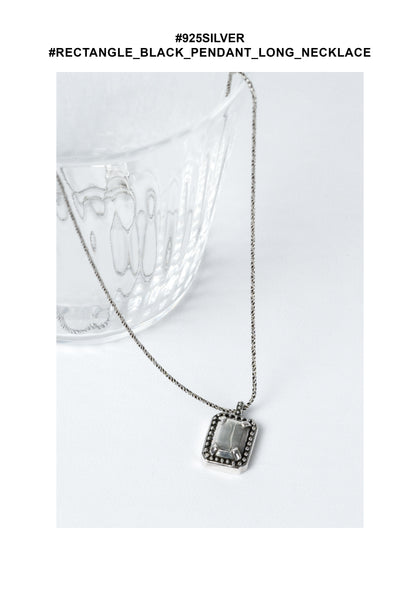 925 Silver Rectangle Black Pendant Long Necklace