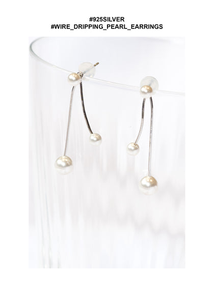 925 Silver Wire Dripping Pearl Earrings - whoami