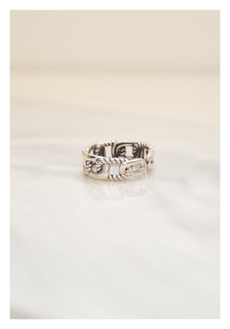 925 Silver Mixed Engraved Rectangle Ring - whoami