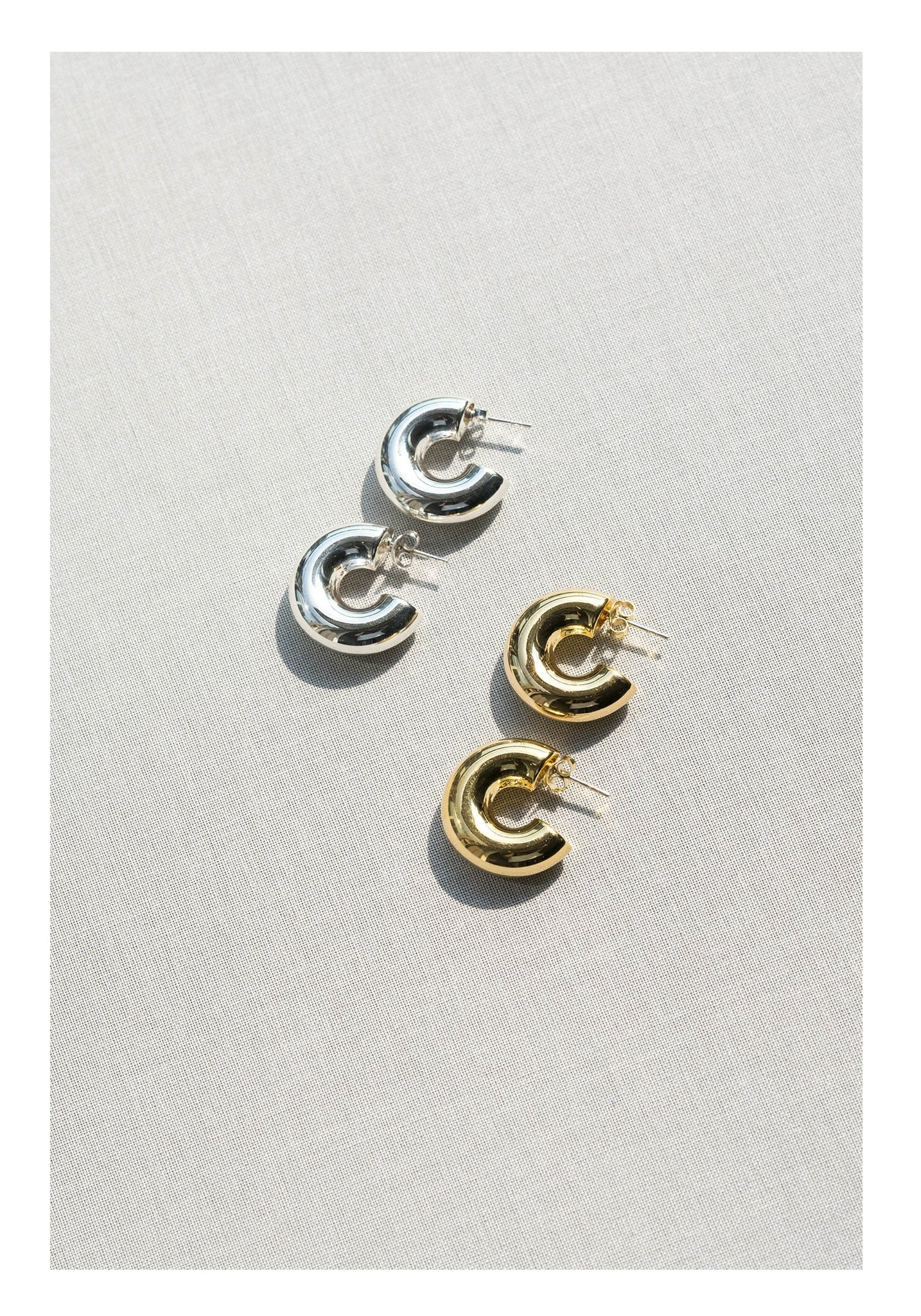 925 Silver Golden Round Half Hoop Earrings