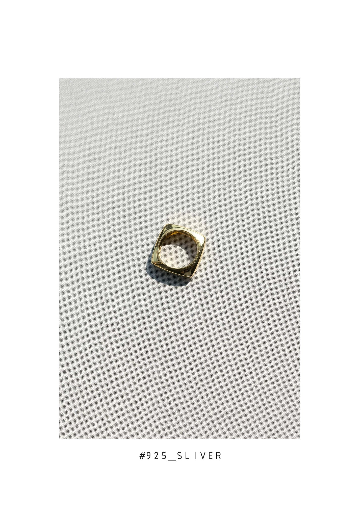 925 Silver Golden Square Ring