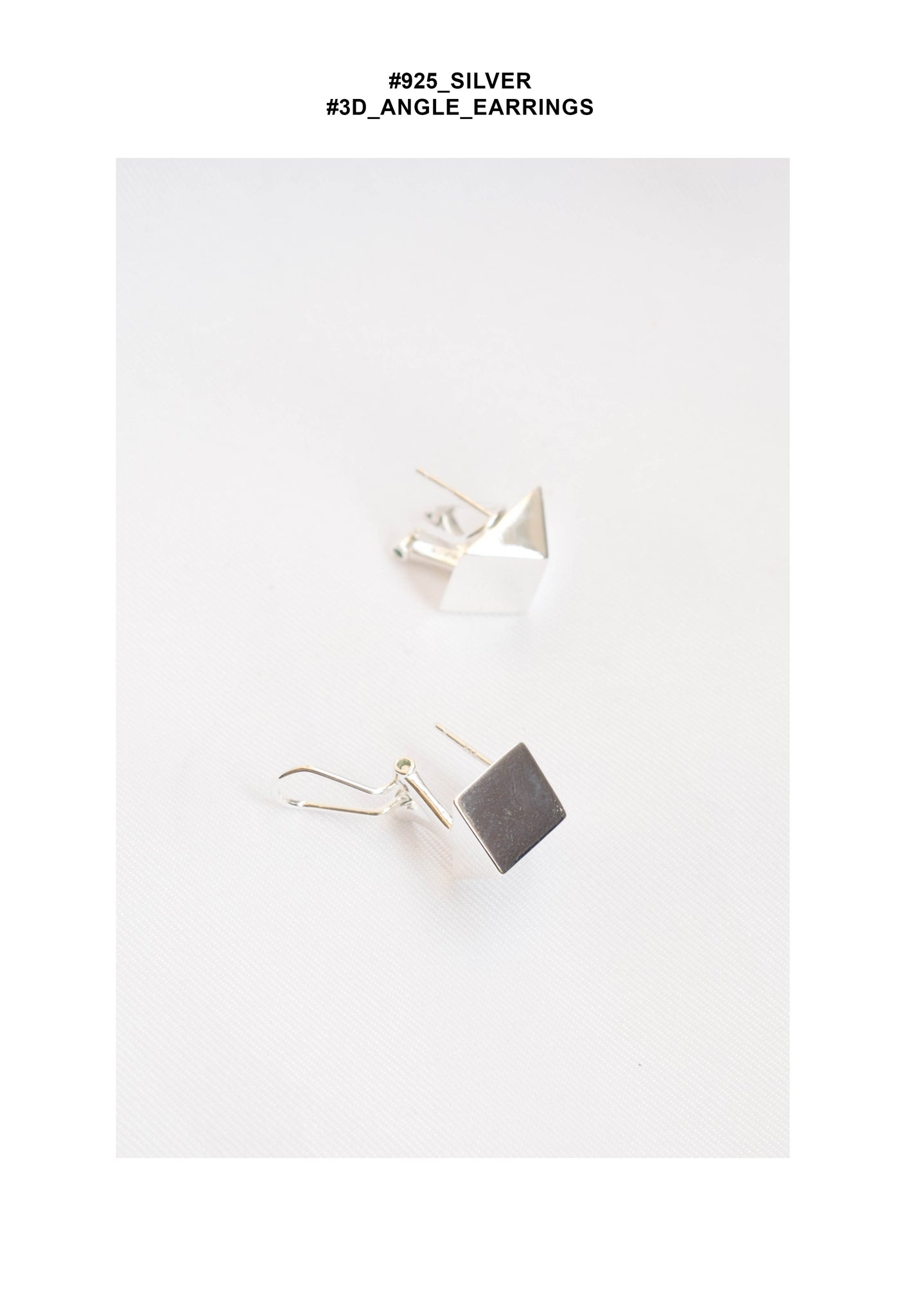 925 Silver 3D Angle Earrings - whoami