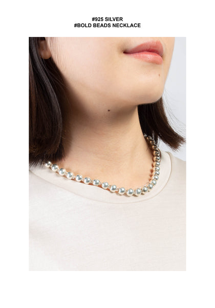 925 Silver Bold Beads Necklace