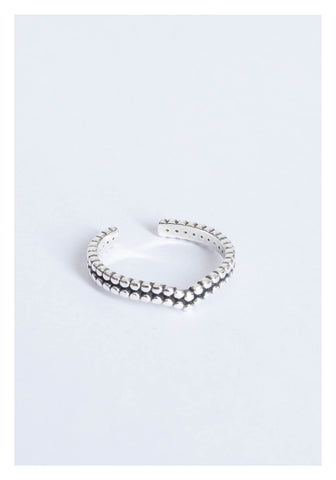925 Silver Engraved Beads Edge Curve Open Ring - whoami
