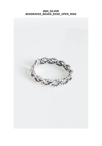 925 Silver Engraved Beads Braid Open Ring - whoami