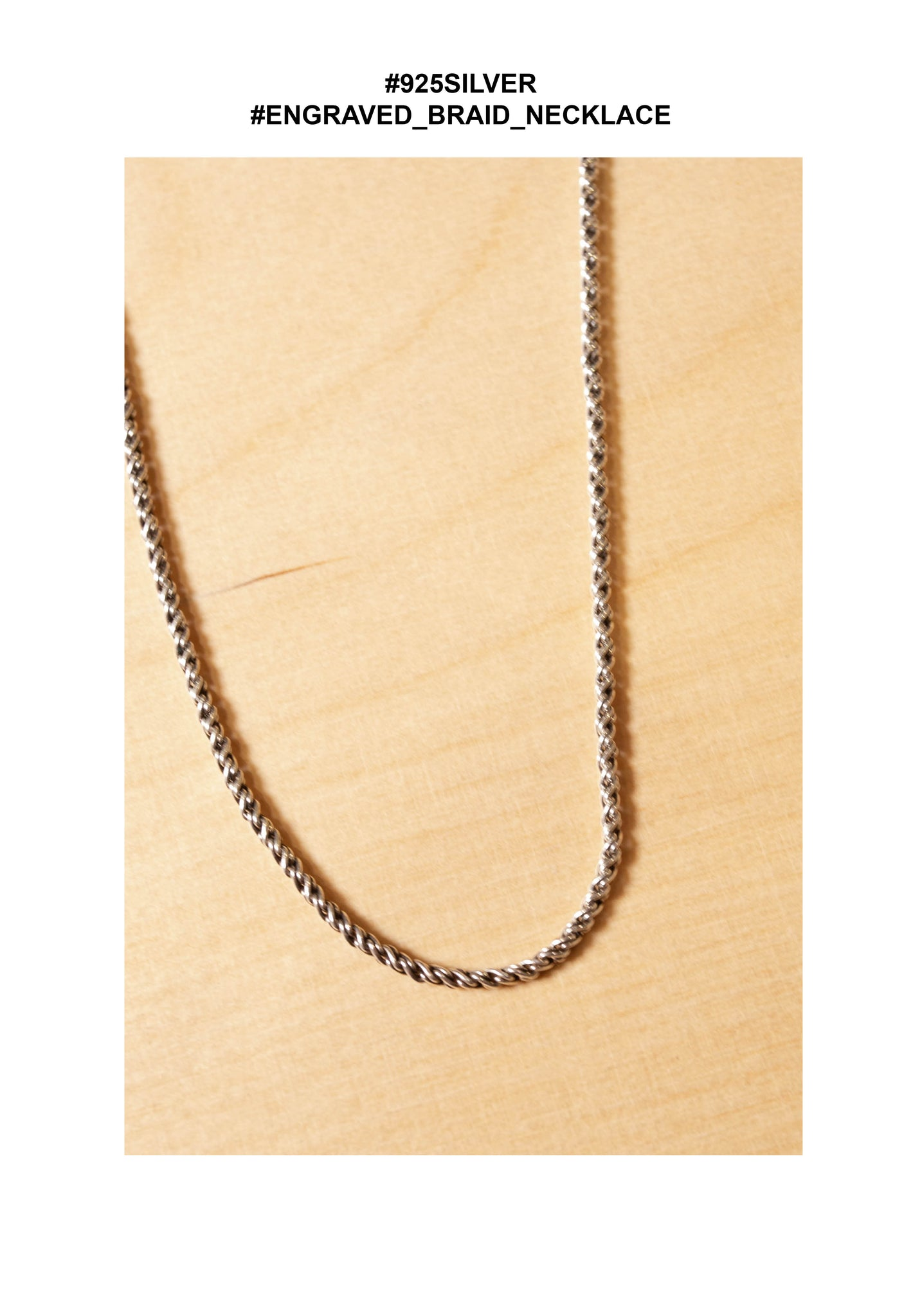 925 Silver Engraved Braid Necklace - whoami
