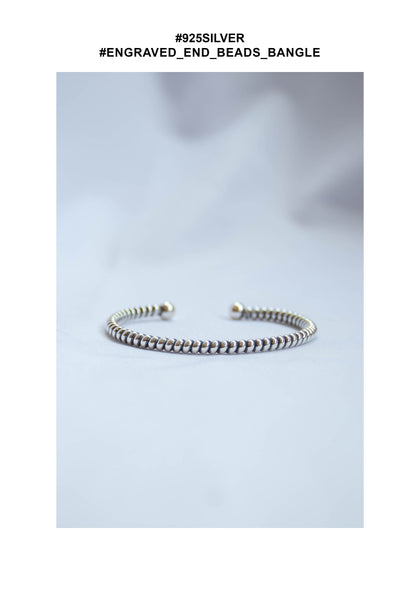 925 Silver Engraved End Beads Bangle - whoami