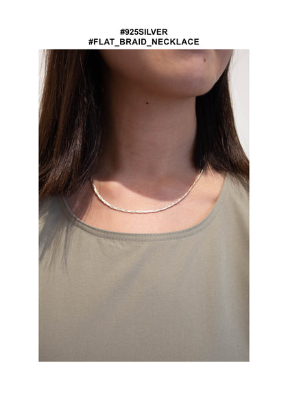 925 Silver Flat Braid Necklace - whoami