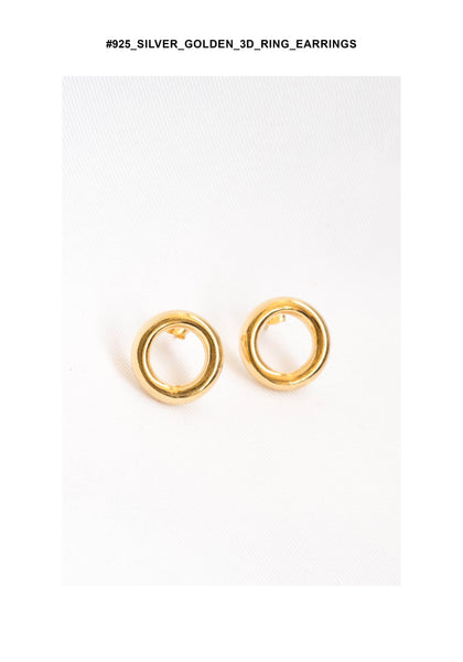925 Silver Golden 3D Ring Earrings