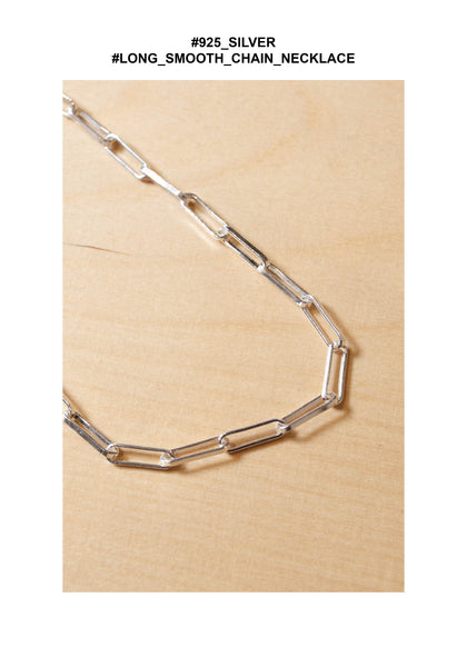 925 Silver Long Smooth Chain Necklace - whoami