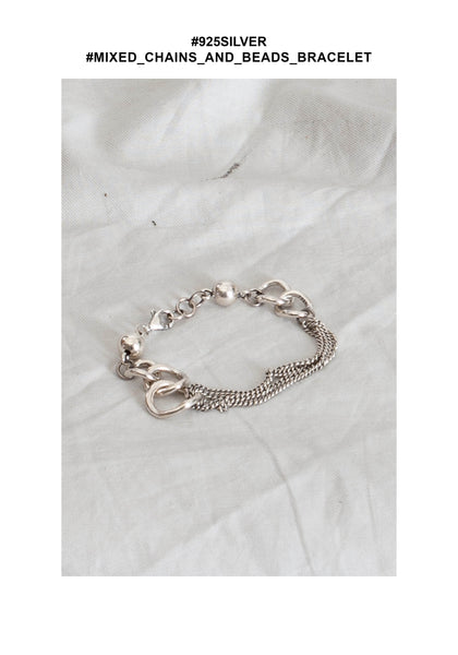 925 Silver Mixed Chains And Beads Bracelet - whoami