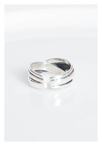 925 Silver Mixed Cross Open Ring - whoami