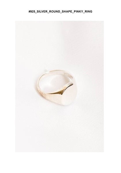 925 Silver Round Shape Pinky Ring - whoami