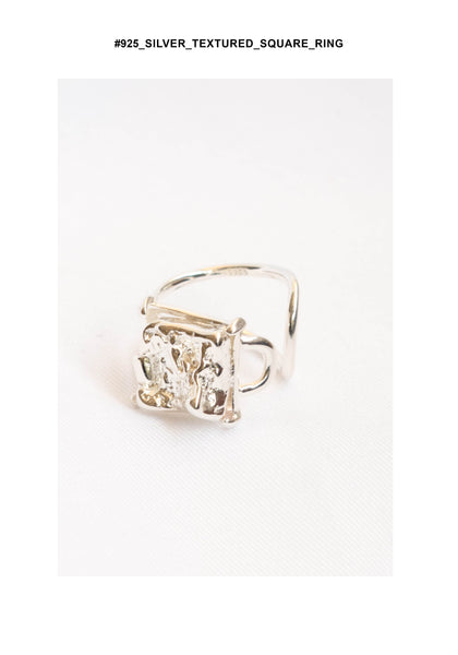 925 Silver Textured Square Ring - whoami