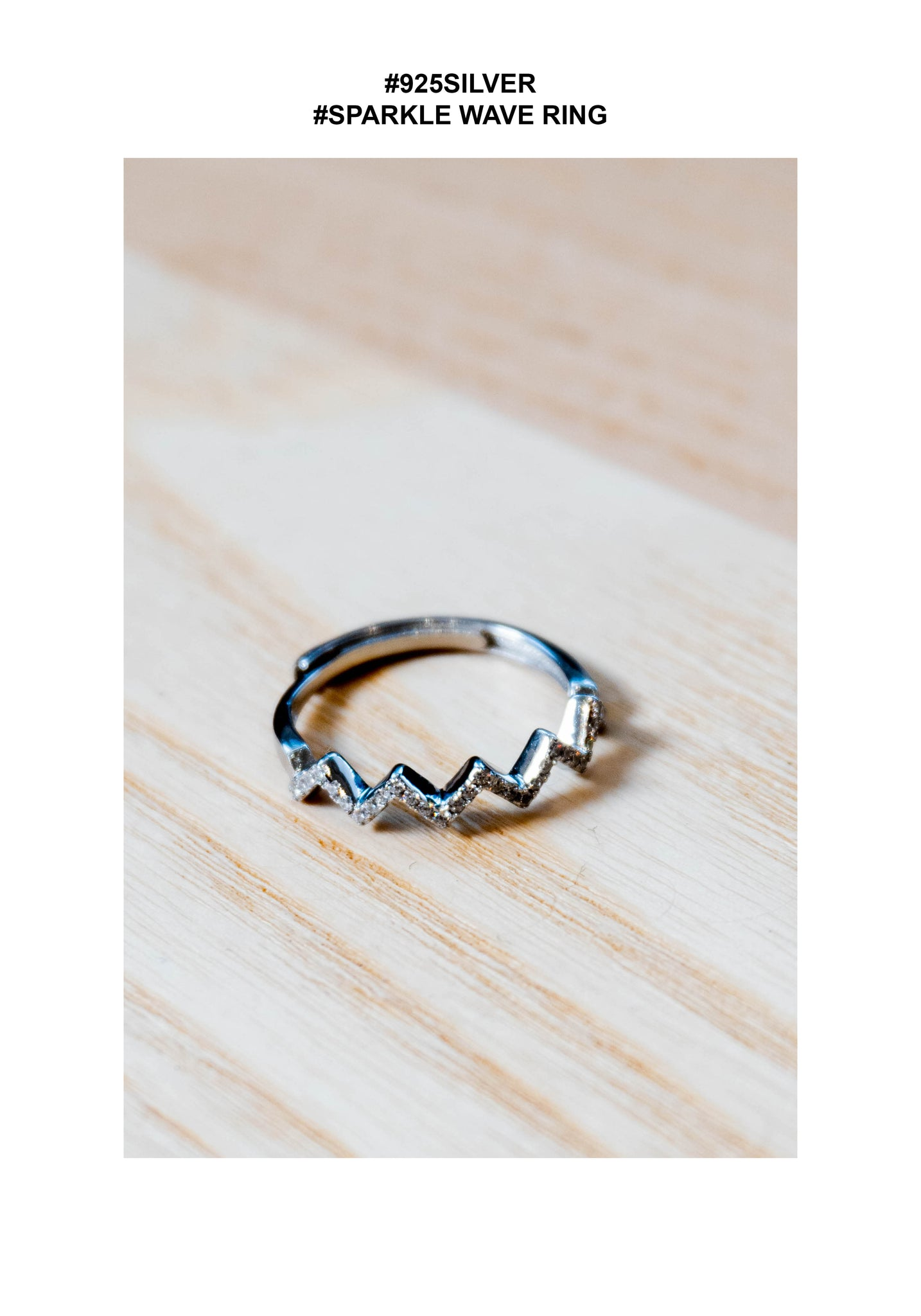 925 Silver Sparkle Wave Ring - whoami