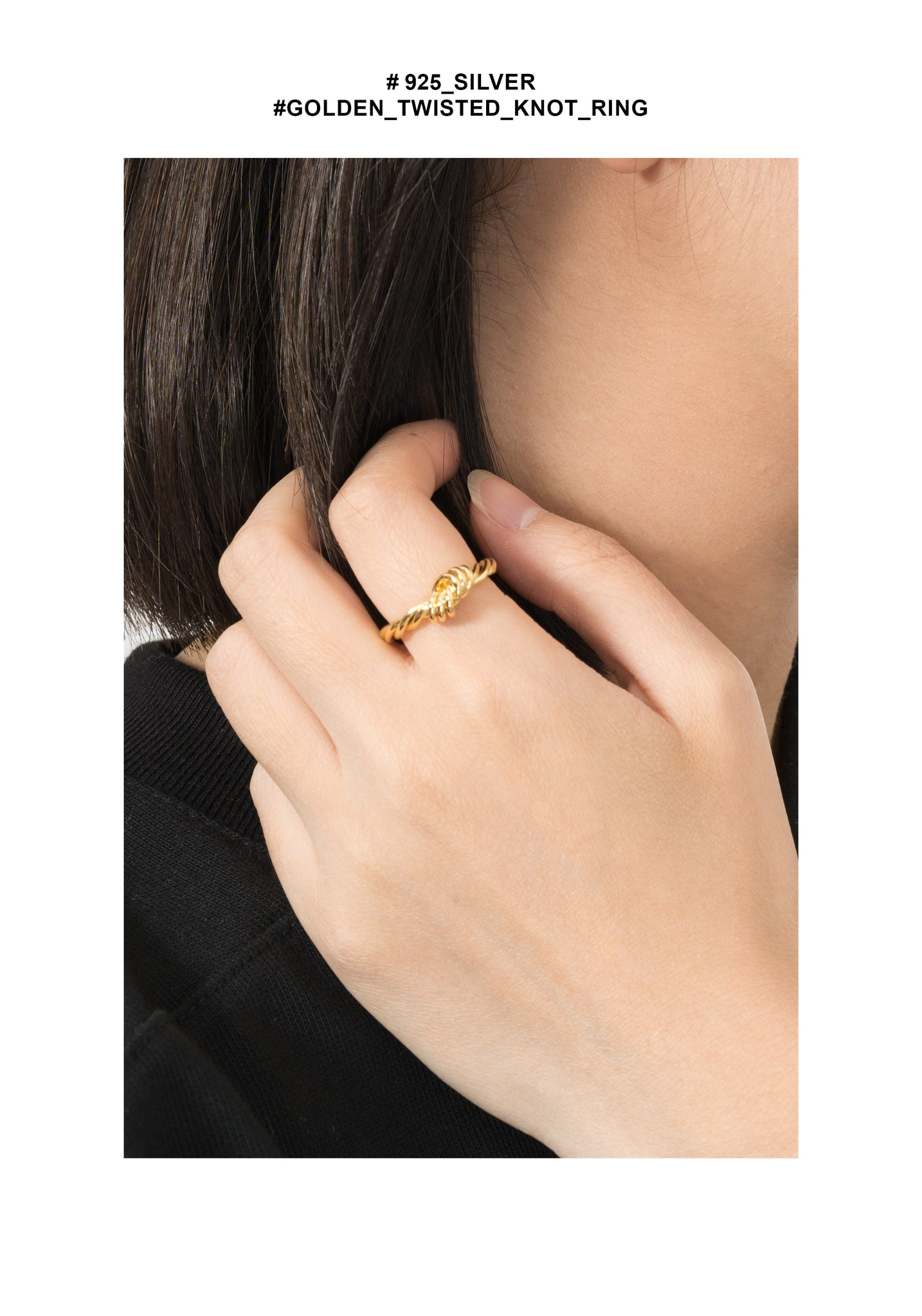 925 Silver Golden Twisted Knot Ring - whoami