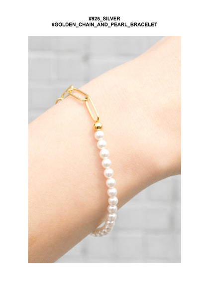 925 Silver Golden Chain And Pearl Bracelet - whoami