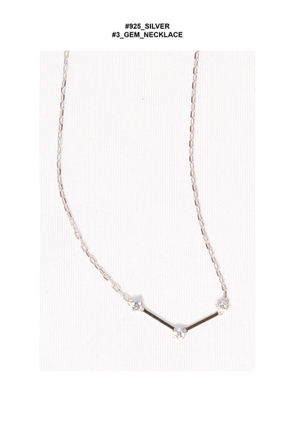 925 Silver 3 Gem Necklace - whoami