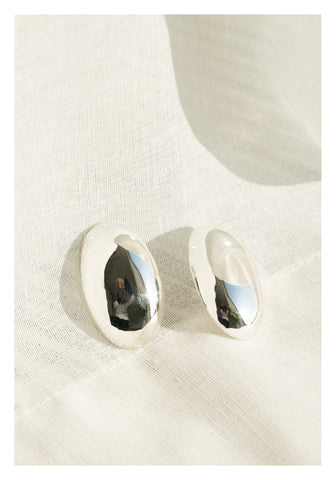 925 Silver Bold Ellipse Earrings - whoami