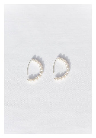 925 Silver Faux Pearl Curve Earrings - whoami