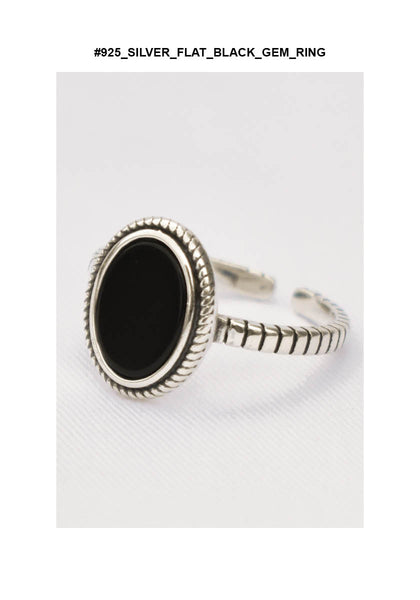 925 Silver Flat Black Gem Ring - whoami