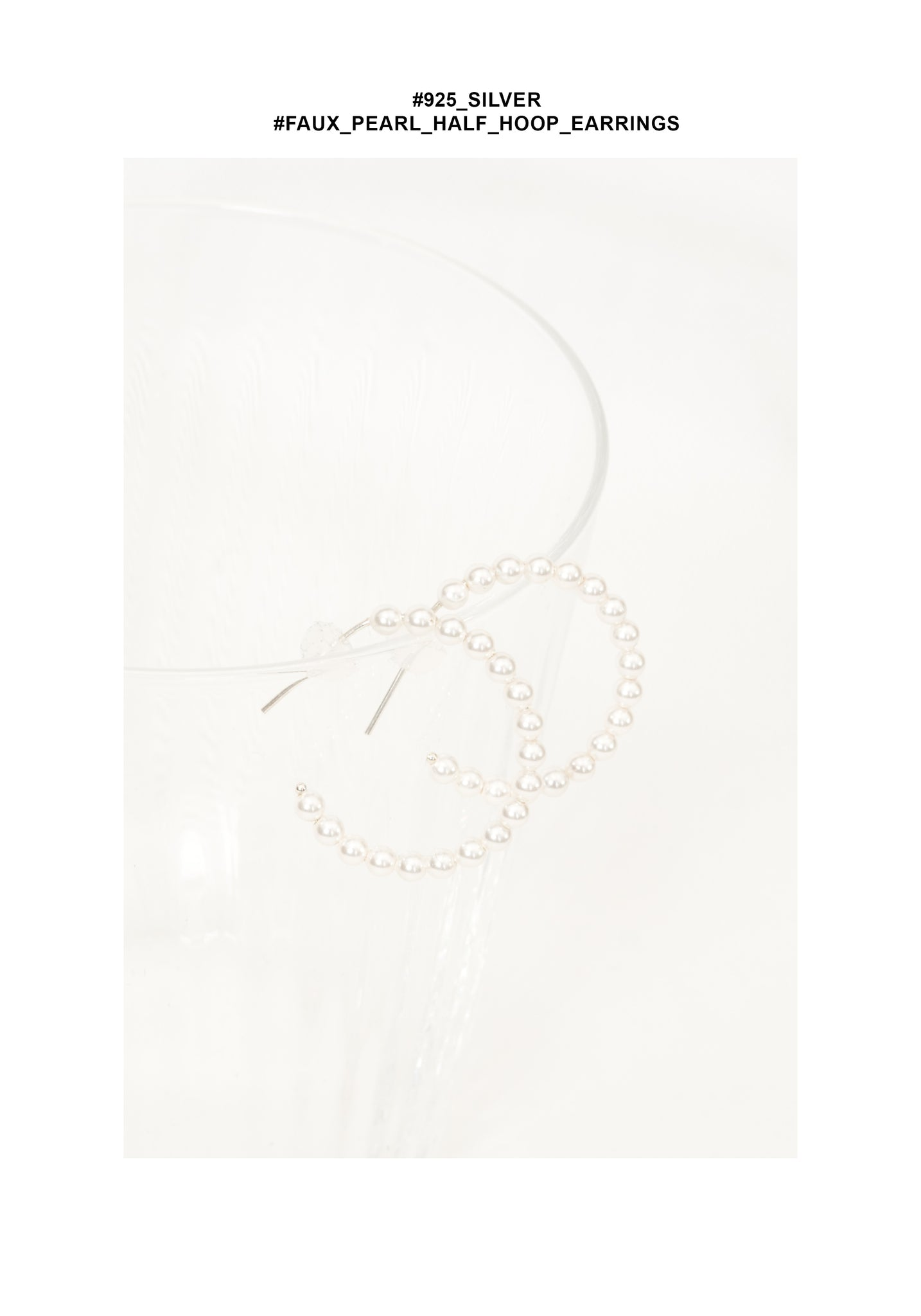 925 Silver Faux Pearl Half Hoop Earrings - whoami