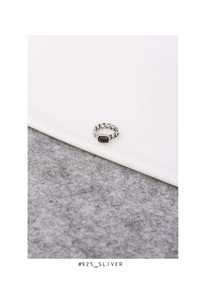 925 Silver Gem Ring Black - whoami