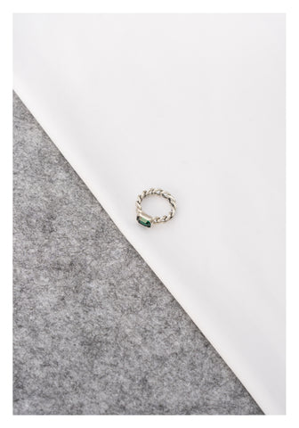 925 Silver Gem Ring Green