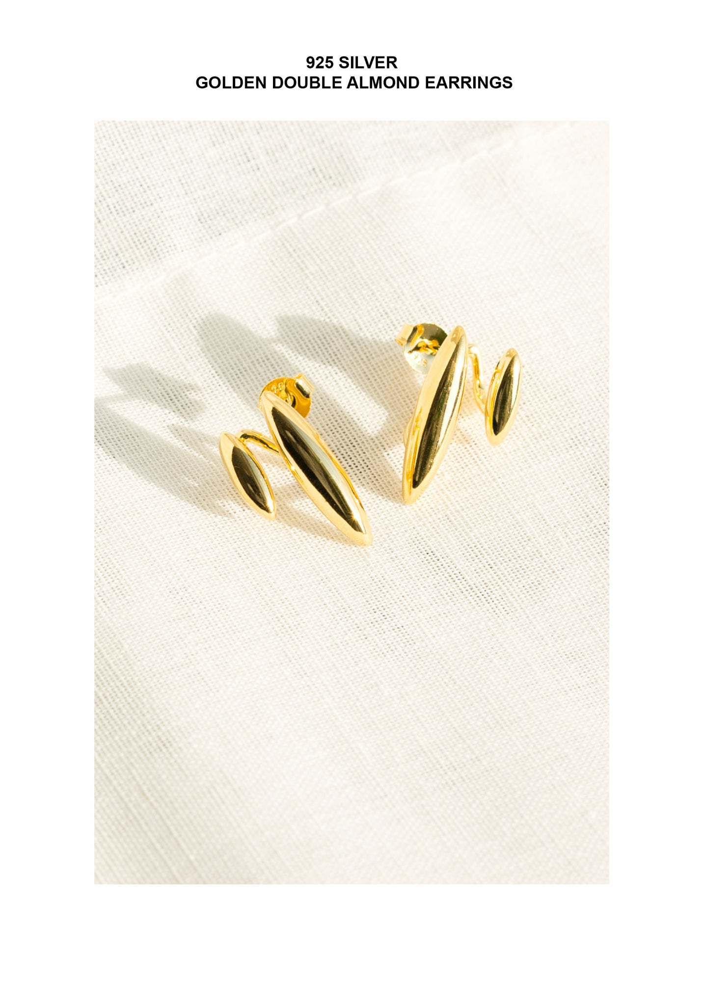 925 Silver Golden Double Almond Earrings - whoami