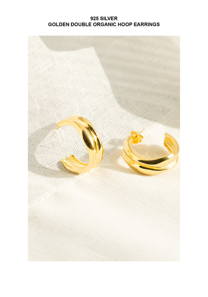 925 Silver Golden Double Organic Hoop Earrings - whoami