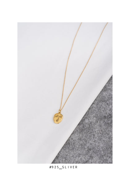 925 Silver Golden Face Pendant Necklace - whoami