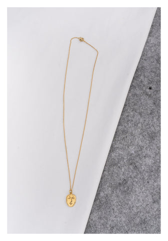925 Silver Golden Face Pendant Necklace
