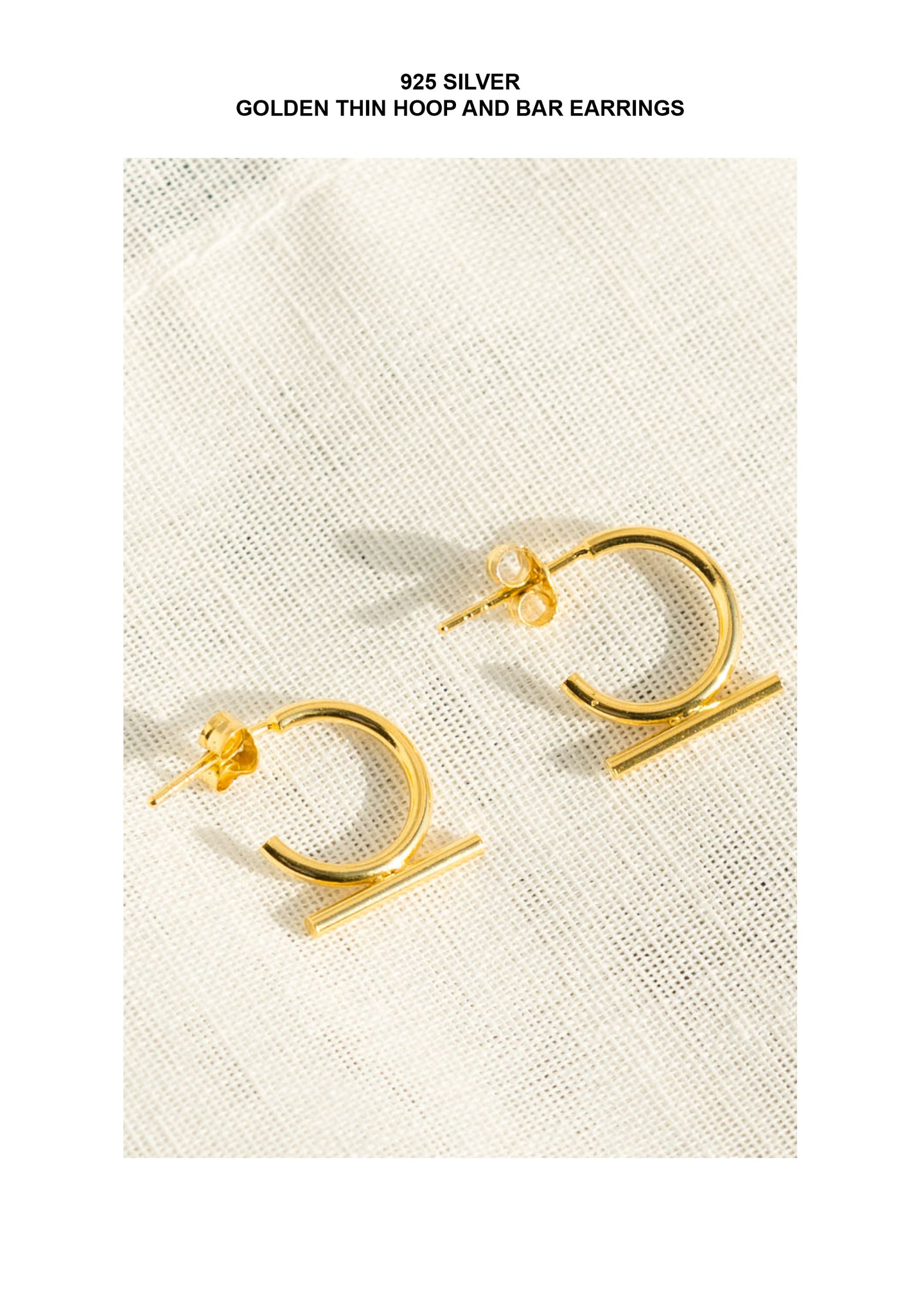 925 Silver Golden Thin Hoop And Bar Earrings - whoami