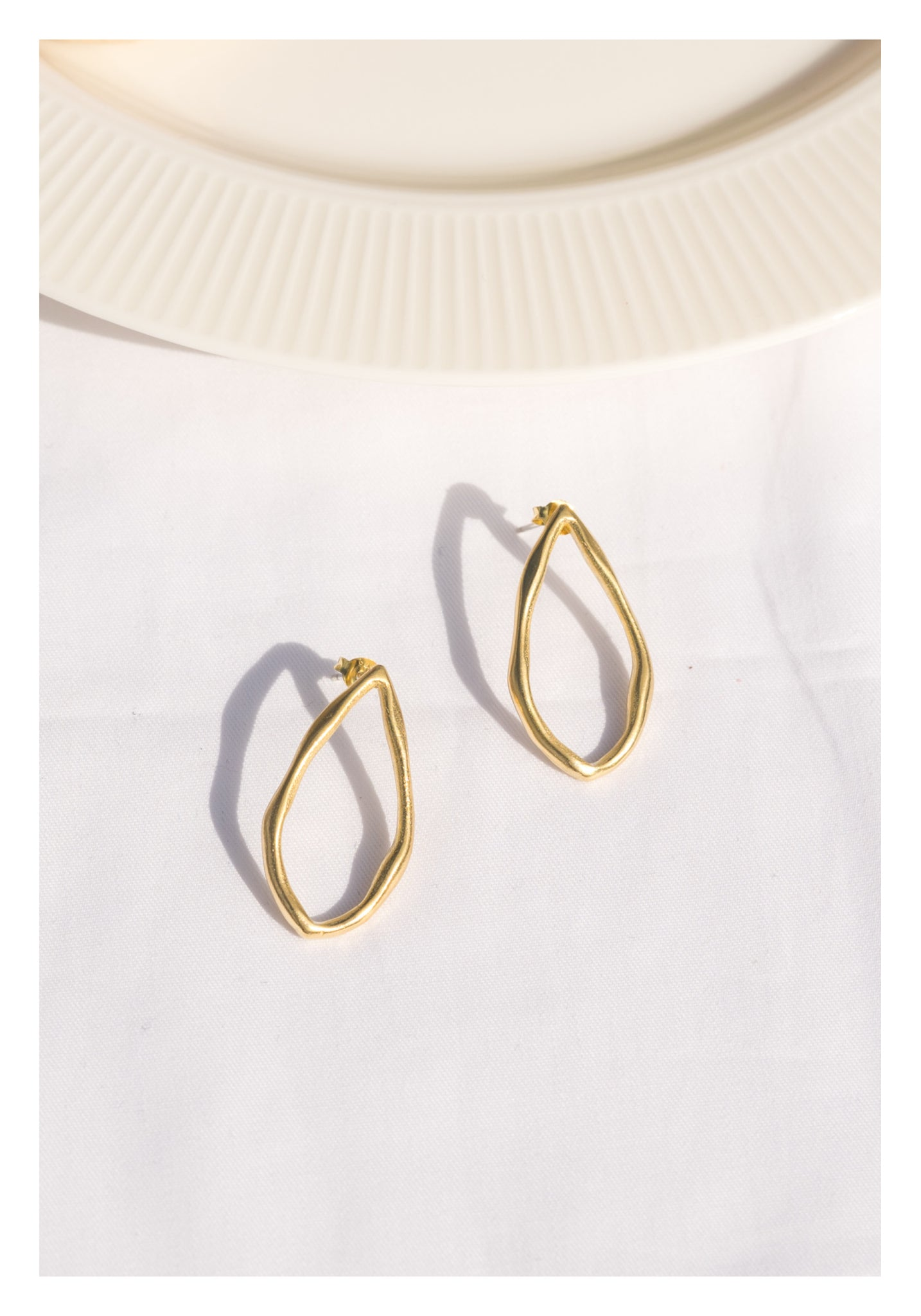 925 Silver Golden Water Drop Ring Earrings
