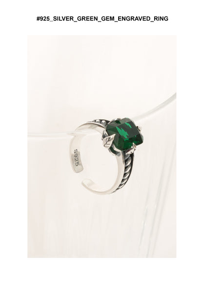 925 Silver Green Gem Engraved Ring - whoami