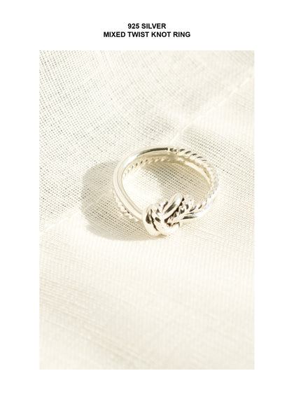 925 Silver Mixed Twist Knot Ring - whoami